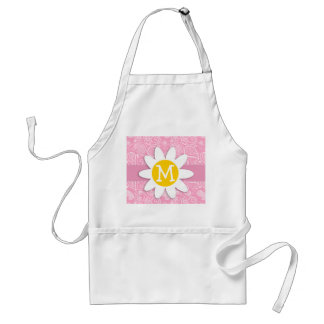 Cute Daisy on Carnation Pink Paisley Adult Apron