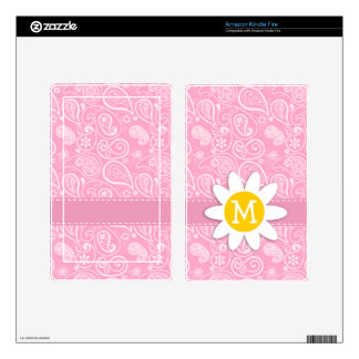Cute Daisy on Carnation Pink Paisley Kindle Fire Skins