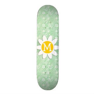 Cute Daisy on Celadon Paisley Skateboard Deck