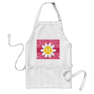 Cute Daisy on Cerise Paisley; Floral Adult Apron