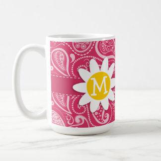 Cute Daisy on Cerise Paisley; Floral Coffee Mug