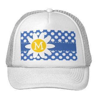 Cute Daisy on Cerulean Blue Polka Dots Hats