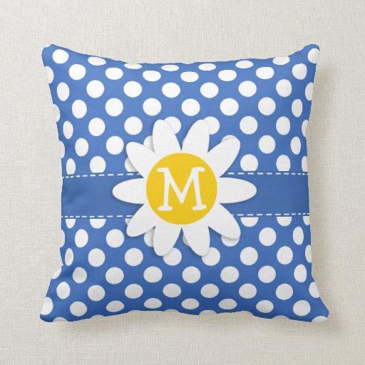 Cerulean Blue Throw Pillows : Cute Daisy on Cerulean Blue Polka Dots Throw Pillows Zazzle