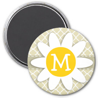 Cute Daisy on Chic Beige Quatrefoil Magnets