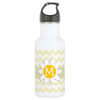 Cute Daisy on Cream Chevron; zig zag Stainless Steel Water Bottle