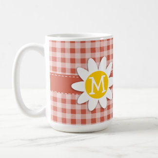 Cute Daisy on Dark Coral Gingham Coffee Mug
