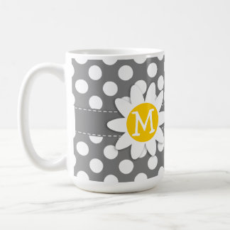 Cute Daisy on Dark Gray Polka Dots Classic White Coffee Mug