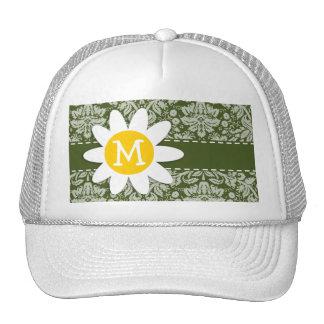 Cute Daisy on Dark Moss Green Damask Trucker Hat