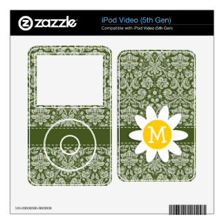 Cute Daisy on Dark Moss Green Damask Decals For iPod Video