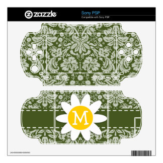 Cute Daisy on Dark Moss Green Damask Skins For The Sony PSP