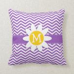 Cute Daisy on Deep Lilac Chevron Throw Pillow
