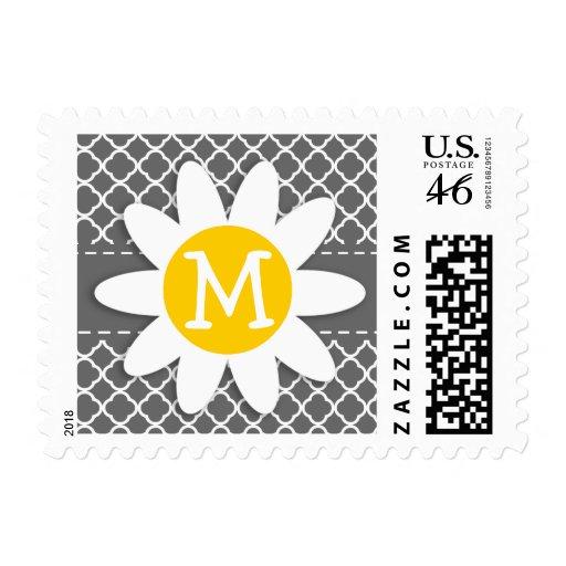 Cute Daisy on Dim Gray Quatrefoil Postage Stamp