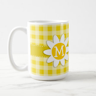 Cute Daisy on Golden Yellow Gingham Coffee Mug