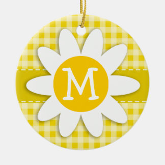 Cute Daisy on Golden Yellow Gingham Double-Sided Ceramic Round Christmas Ornament