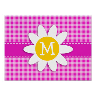 Cute Daisy on Hot Magenta Pink Gingham Poster