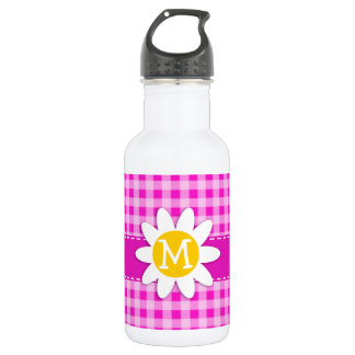 Cute Daisy on Hot Magenta Pink Gingham Water Bottle