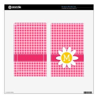 Cute Daisy on Hot Pink Gingham Decals For Kindle Fire