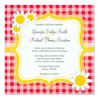 Cute Daisy on Retro Scarlet Red Gingham Pattern Card