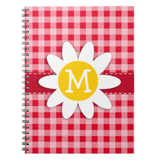 Cute Daisy on Retro Scarlet Red Gingham Pattern Spiral Notebook