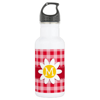 Cute Daisy on Retro Scarlet Red Gingham Pattern Stainless Steel Water Bottle