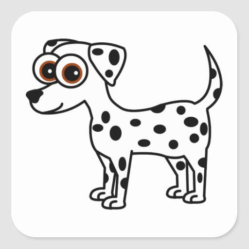 Cute Dalmatian Cartoon Square Square Sticker