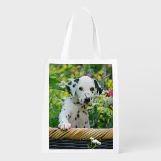 Cute Dalmatian Dog Cute Puppy Photo, reuseable Grocery Bag