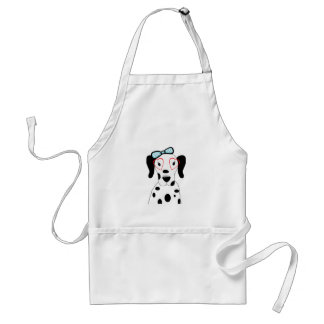 Cute Dalmatian Dog Funny Face Hearts Adult Apron