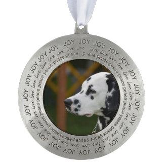 Cute Dalmatian Puppy Round Pewter Ornament