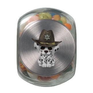 Cute Dalmatian Puppy Sheriff Glass Candy Jars