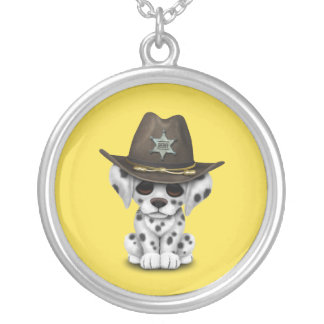 Cute Dalmatian Puppy Sheriff Silver Plated Necklace