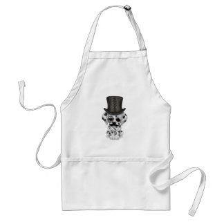 Cute Dalmatian Puppy with Monocle and Top Hat Adult Apron