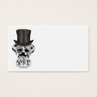Cute Dalmatian Puppy with Monocle and Top Hat Business Card