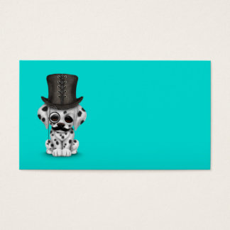 Cute Dalmatian Puppy with Monocle, Top Hat Blue Business Card