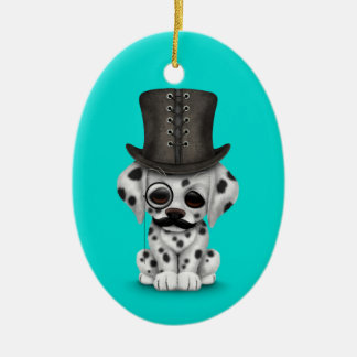 Cute Dalmatian Puppy with Monocle, Top Hat Blue Ornaments