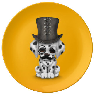 Cute Dalmatian Puppy with Monocle, Top Hat Yellow Plate