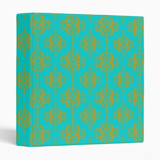 Cute Damask Pattern Gold over Turquoise Binder