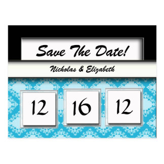 CUTE damask Save the Date Custom Calandar Postcard