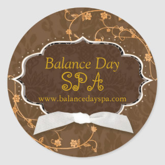 Cute Damask Swirls Spa Shop Business Product Label Round Stickers