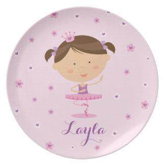 Cute Dancer Ballerina Girl Melamine plate