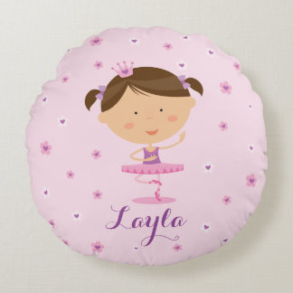 Cute Dancer Ballerina Girl Round Pillow