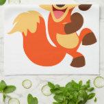 Cute Dancing Cartoon Fox Kitchen Towel