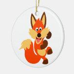 Cute Dancing Cartoon Fox Ornament