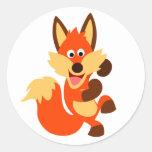 Cute Dancing Cartoon Fox Sticker