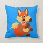 Cute Dancing Cartoon Fox Throw Pillow