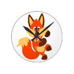 Cute Dancing Cartoon Fox Wall Clock
