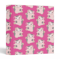 Cute Dancing Cartoon Pig Repeat Pattern Binder