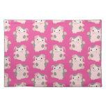 Cute Dancing Cartoon Pig Repeat Pattern Placemat Cloth Place Mat