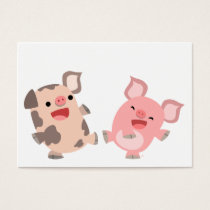 Cute Dancing Cartoon Pigs ACEO/Business Card