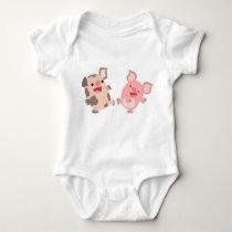 Cute Dancing Cartoon Pigs Baby Apparel Baby Bodysuit