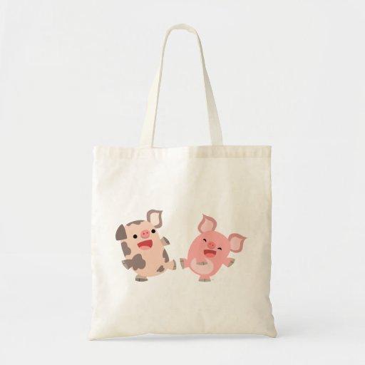 Cute Dancing Cartoon Pigs Bag